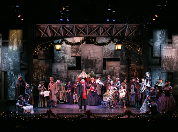 The cast in Charles Dickens' A Christmas Carol at South Coast Repertory. Photo by Henry DiRocco SCR