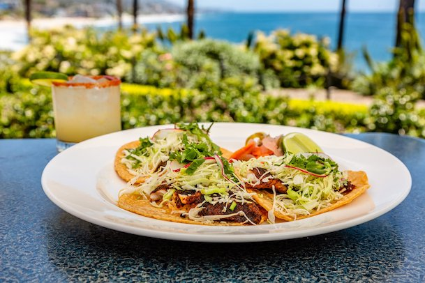 Margarita and tacos from Las Brisas in Laguna Beach, CA