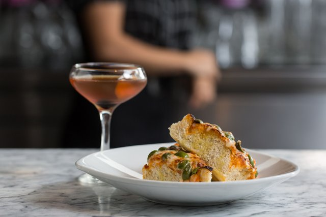 Old Vine cocktail and focaccia