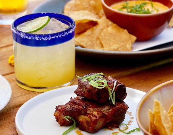 Playa Mesa margarita, quesito, and pork confit ribs