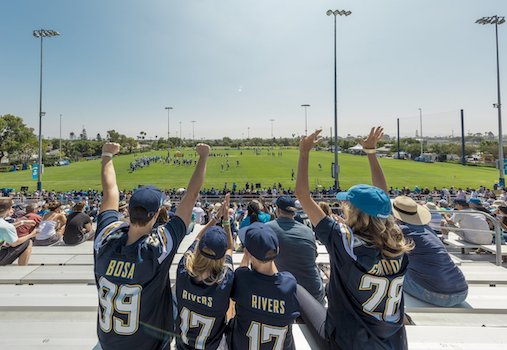 Chargers Training Camp 2019 at Jack Hammett Sports Complex in Costa Mesa August 11